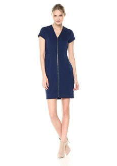 Ellen Tracy Women's Ponte Zipper Dress