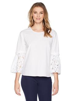 ELLEN TRACY Women's Poplin Shirt with Flouncy Sleeves  XL