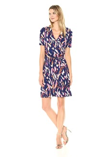 Ellen Tracy Women's Printed Faux Wrap Dress