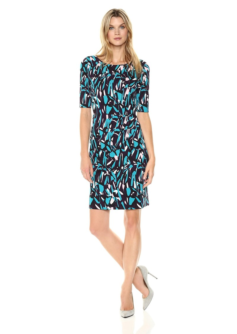 ELLEN TRACY Women's Printed Ponte Dress