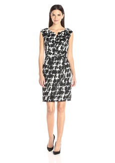 Ellen Tracy Women's Printed Scuba Dress with Rigid Neckline Black/Ivory