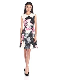Ellen Tracy Women's Printed Soft-Fold Dress