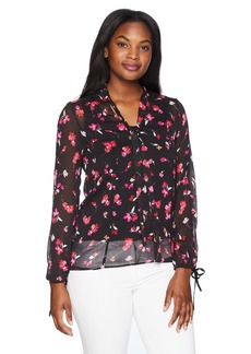 ELLEN TRACY Women's Printed Tie Neck Blouse  S