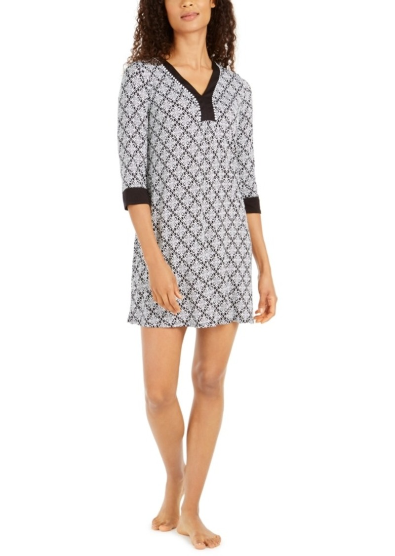 Ellen Tracy Women's Printed Tunic Sleepshirt Nightgown