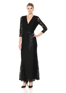 Ellen Tracy Women's Quarter Sleeved Lace Gown