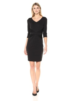Ellen Tracy Women's Quarter Sleeved Ponte Dress