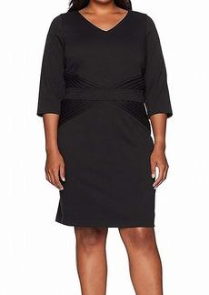ELLEN TRACY Women's Quarter Sleeved Ponte Dress-Plus Size  20W