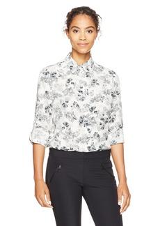 ELLEN TRACY Women's Roll Tab Boyfriend Shirt Bouquet/el Cream XL