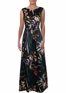 ELLEN TRACY Women's Satin Floral Cocktail Gown