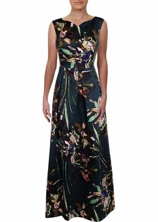 ELLEN TRACY Women's Satin Floral Cocktail Gown