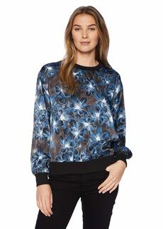 ELLEN TRACY Women's Satin Sweatshirt with Rib Trim Twilight BLMS/Blue L