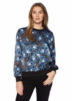 ELLEN TRACY Women's Satin Sweatshirt with Rib Trim Twilight BLMS/Blue S