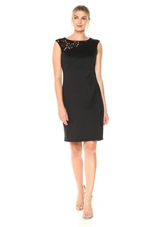ELLEN TRACY Women's Scuba Dress with Lace Detail