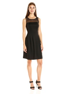Ellen Tracy Women's Scuba Mesh Sleeveless Dress Rhinestones