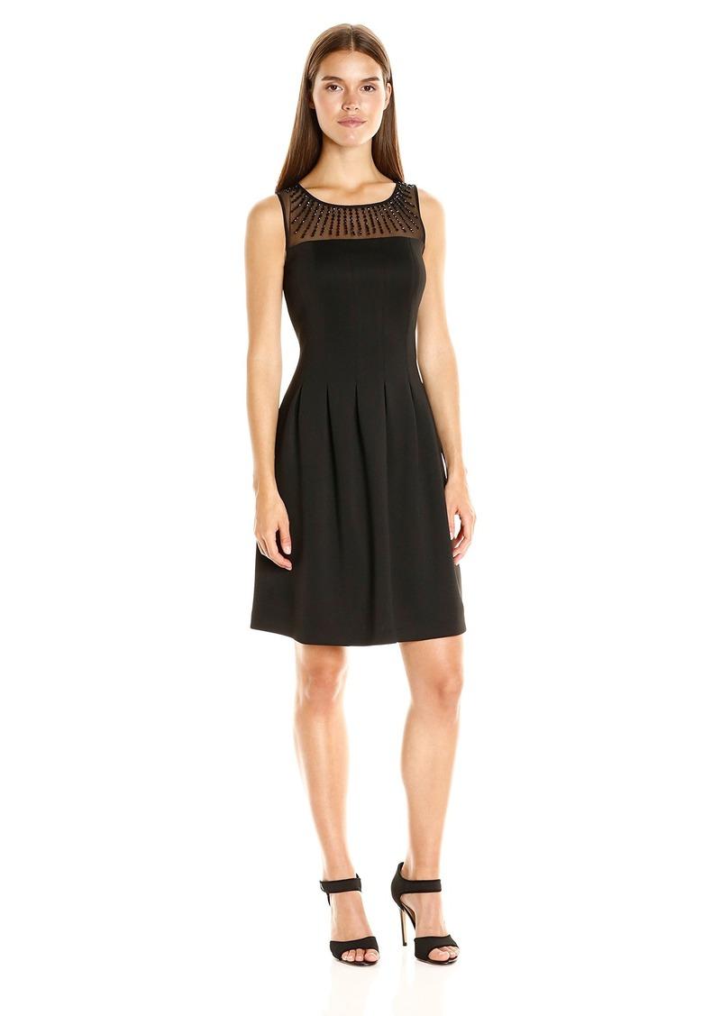 Ellen Tracy Women's Scuba Mesh Sleeveless Dress Rhinestones