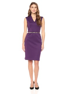 Ellen Tracy Women's Scuba V Neck Dress with Belt