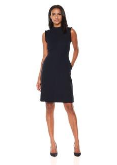 Ellen Tracy Women's Seamed Mock Neck Dress with Fringe Trim