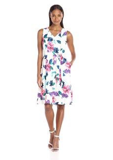 ELLEN TRACY Women's Seamed V-Neck Dress