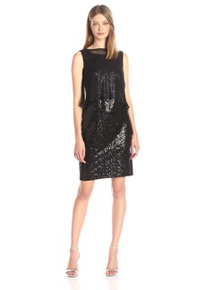 Ellen Tracy Women's Sequin Dress with Removable Chiffon Overlay