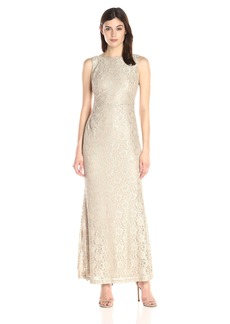 Ellen Tracy Women's Sequin Gown with Side Rusching and Cowl Back