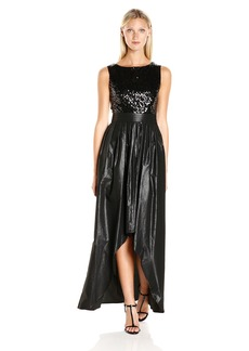 Ellen Tracy Women's Sequin Top High Low Gown black