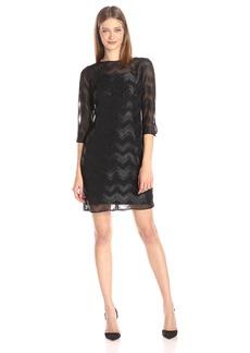 Ellen Tracy Women's Sheer Chevron Stripe Long Sleeve Dress
