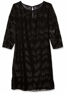 ELLEN TRACY Women's Sheer Chevron Stripe Long Sleeve Dress