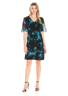 Ellen Tracy Women's Sheer Sleeve Dress  M