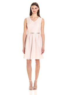 Ellen Tracy Women's Sheer Striped Fit and Flare Dress With Self Belt