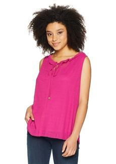 ELLEN TRACY Women's Shirred Neck Sleeveless Top  M