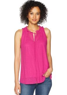 ELLEN TRACY Women's Shirred Neck Sleeveless Top  XS