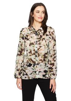 ELLEN TRACY Women's Shirred Yoke Shirt  L