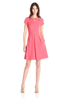 Ellen Tracy Women's Short Sleeve Fit and Flare Dress with Neck Cut Outs