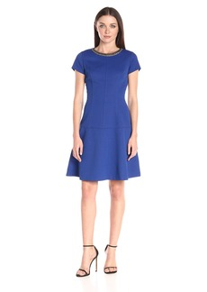 Ellen Tracy Women's Short Sleeve Fit and Flare Dress with Neckline Embelishment