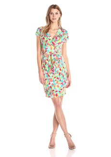 Ellen Tracy Women's Short Sleeve Fit and Flare Wrap Dress