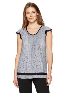 ELLEN TRACY Women's Short Sleeve Flutter Top  S