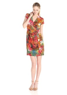 Ellen Tracy Women's Short Sleeve Printed Faux Wrap Dress