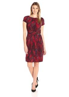 Ellen Tracy Women's Short Sleeve Printed Jersey Dress