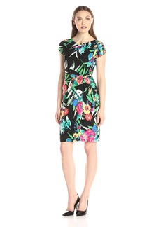 Ellen Tracy Women's Short Sleeve Side Knot Dress Black Ground Floral Print