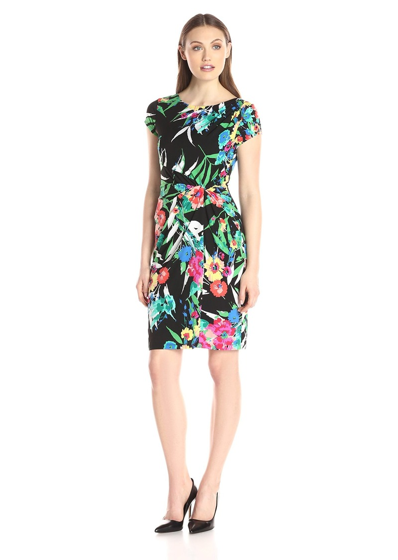 Ellen Tracy Women's Short Sleeve Side Knot Dress Black Ground Floral Print