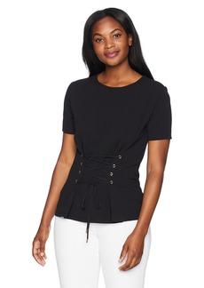 ELLEN TRACY Women's Short Sleeve Top with Grommet Tie el/Black M