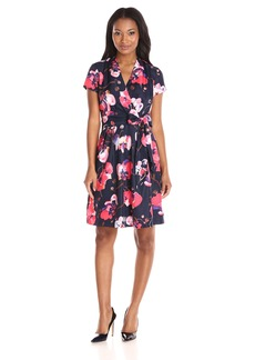 Ellen Tracy Women's Short Sleeved Printed Faux Wrap Dress With Tie At Waist