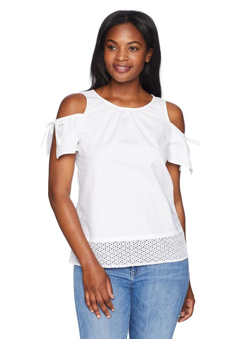 ELLEN TRACY Women's Shoulder Focus Poplin Top W/Eyelet Lace el/White XL