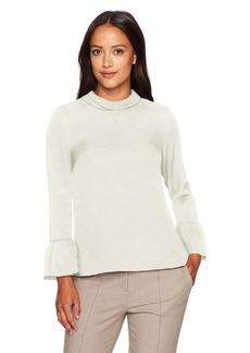 Ellen Tracy Women's Size Cloque Mock Tie Back Neck Blouse  Petite Medium