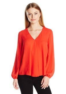 Ellen Tracy Women's Size Front Fold V-Neck Blouse  Petite Medium