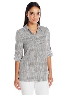 Ellen Tracy Women's Petite Size Roll Tab Boyfriend Shirt Stripe el/Black Medium