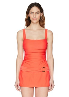 Ellen Tracy Women's Skirted One-Piece Swimsuit Bathingsuit Ruffle Me up Poppy