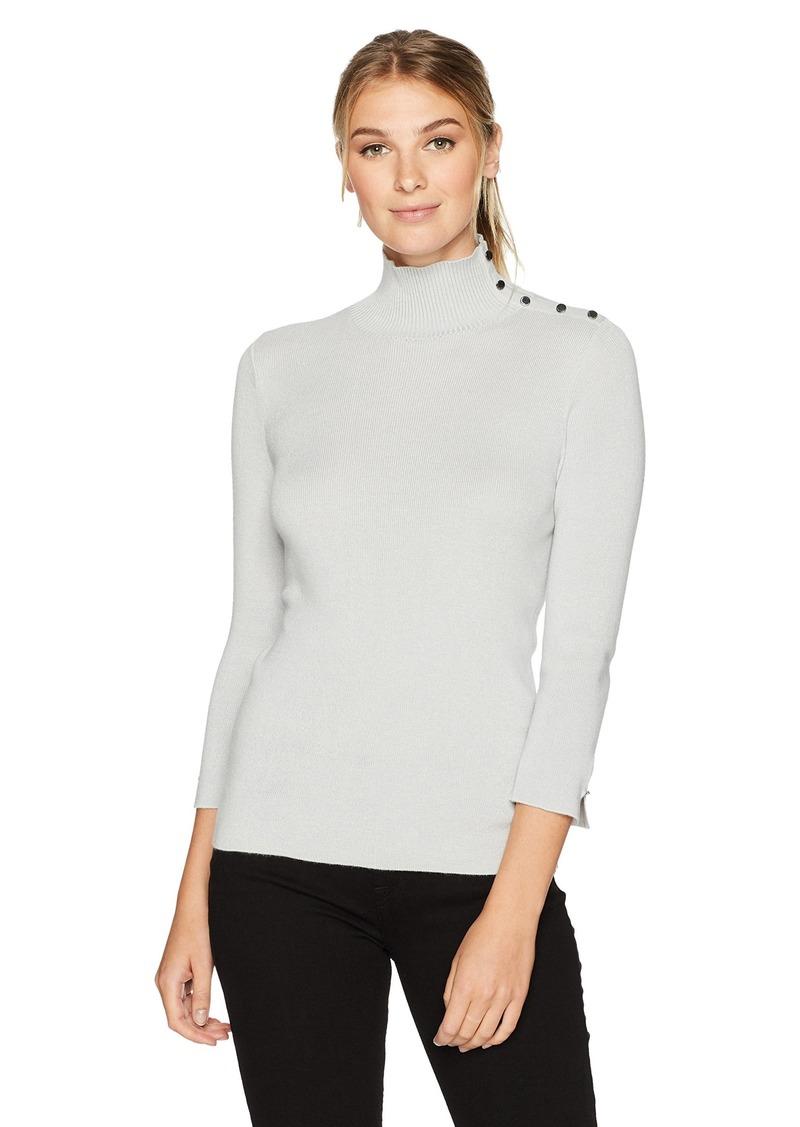ELLEN TRACY Women's Sleeve Slit Detail Turtleneck  L