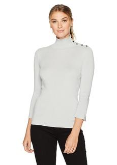Ellen Tracy Women's Sleeve Slit Detail Turtleneck  M