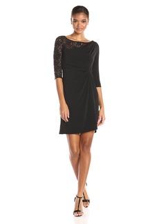 ELLEN TRACY Women's Sleeved Lace Jersey Front Knot Dress